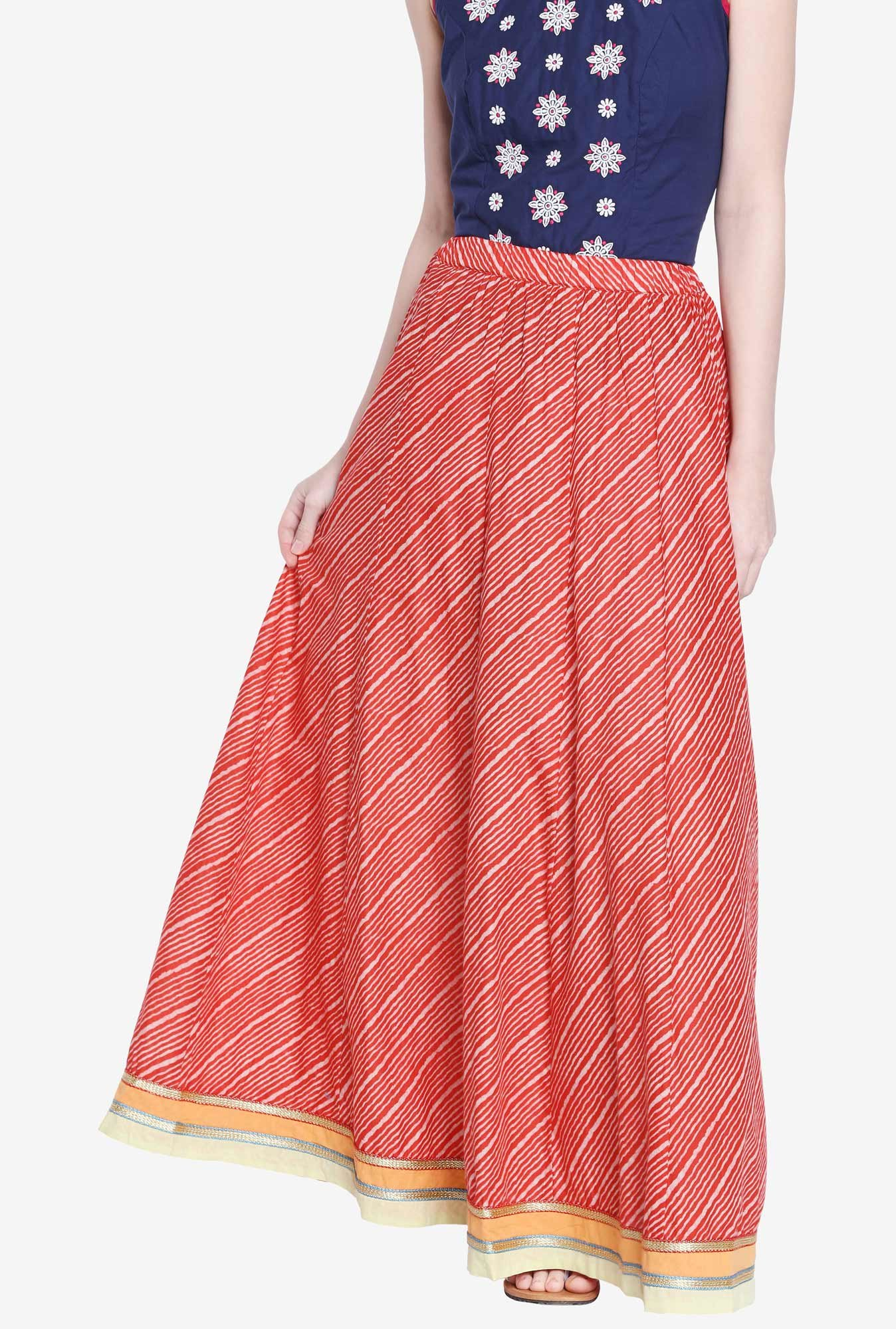 Globus Red Striped Maxi Skirt