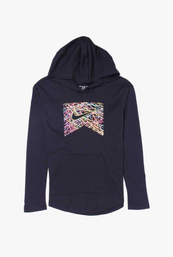 29125f395dd3 Buy Nike Black Printed Hoodie for Girls Clothing Online   Tata CLiQ
