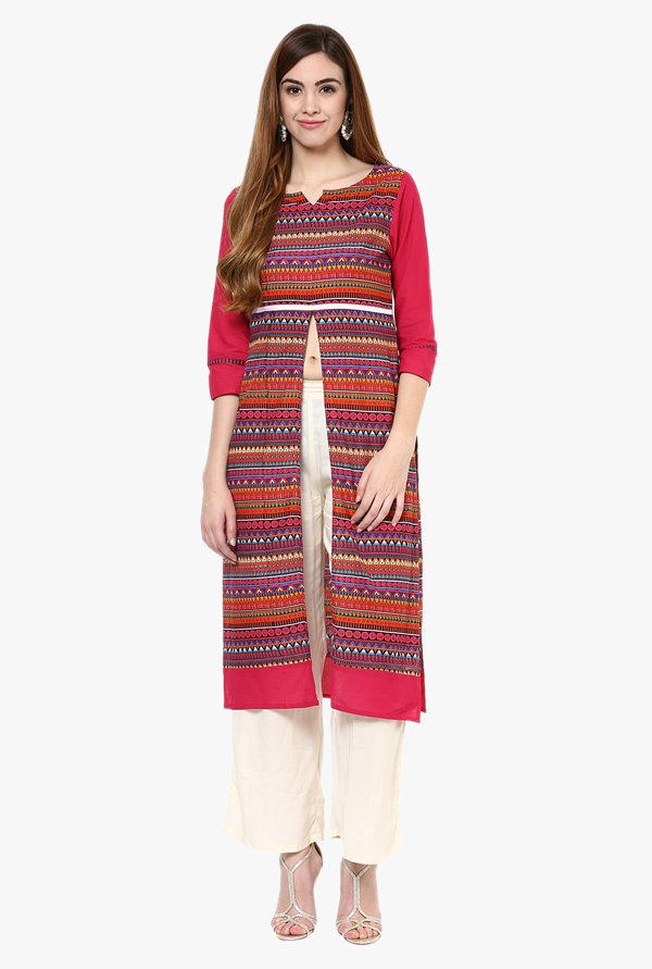 Jaipur Kurti Multicolor Cotton Kurta With Palazzo