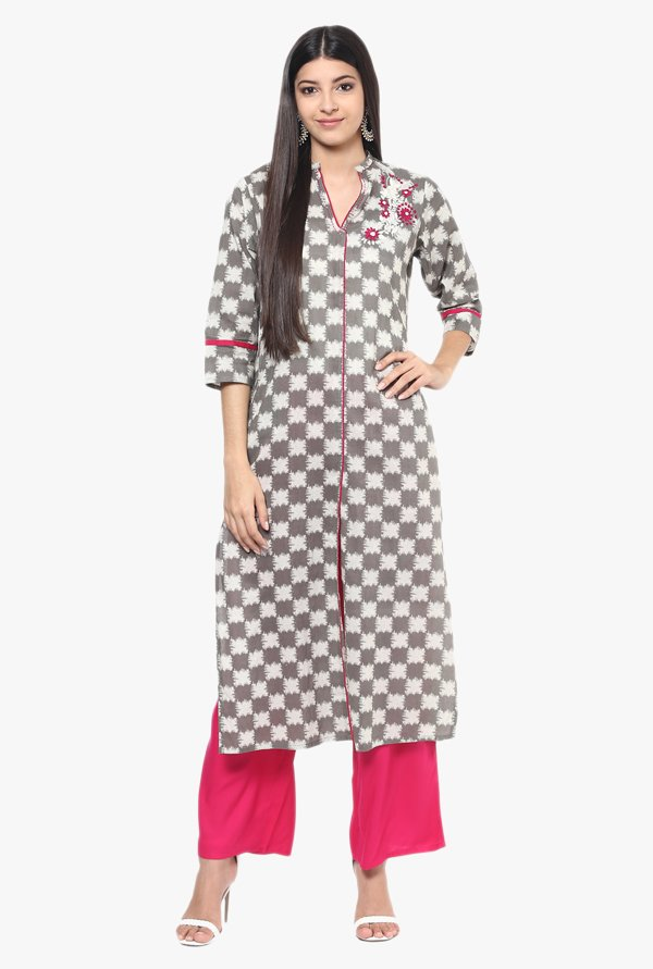 Jaipur Kurti Grey & Pink Cotton Kurta With Palazzo