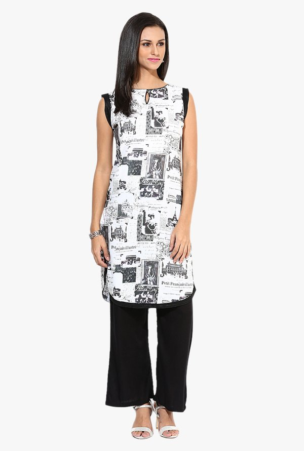Jaipur Kurti White & Black Printed Kurta With Palazzo