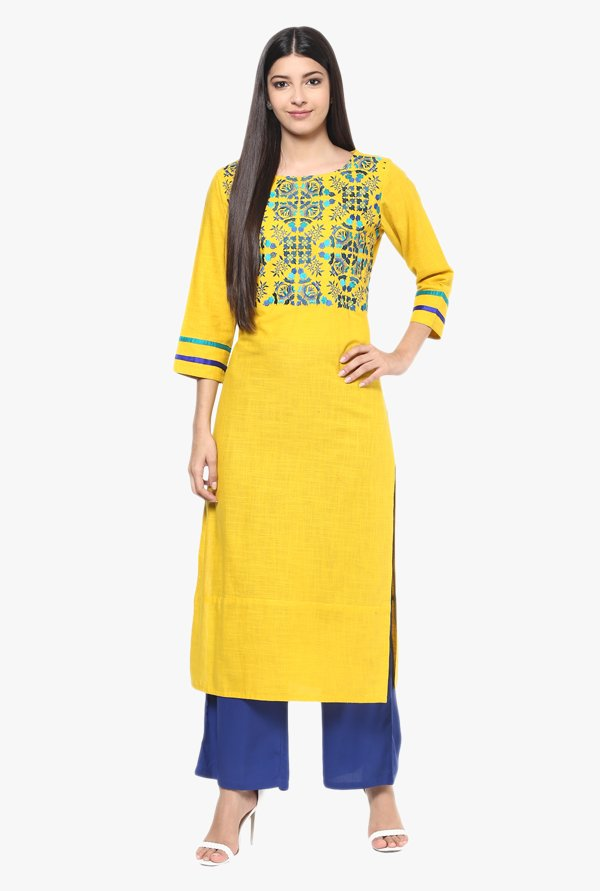 Jaipur Kurti Yellow & Blue Cotton Kurta With Palazzo
