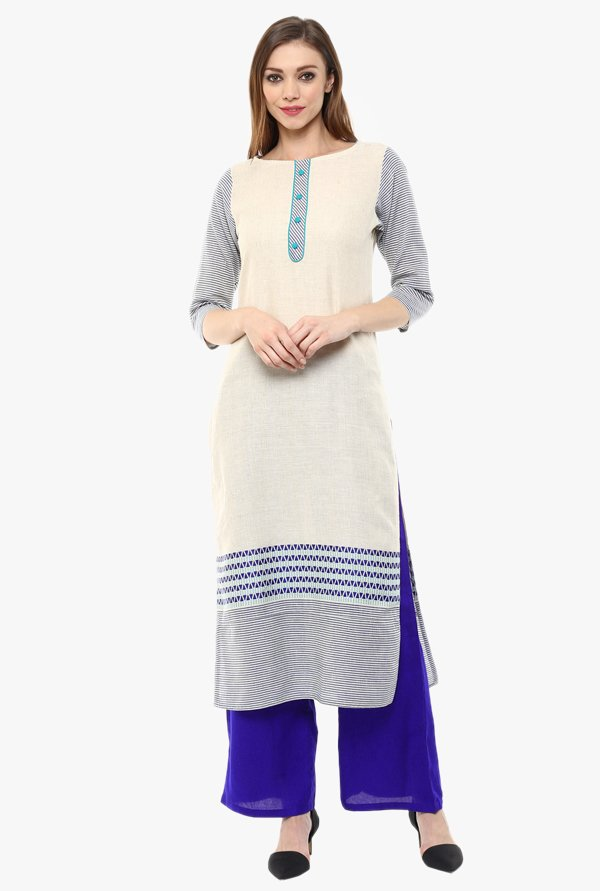 Jaipur Kurti White & Blue South Cotton Kurta With Palazzo