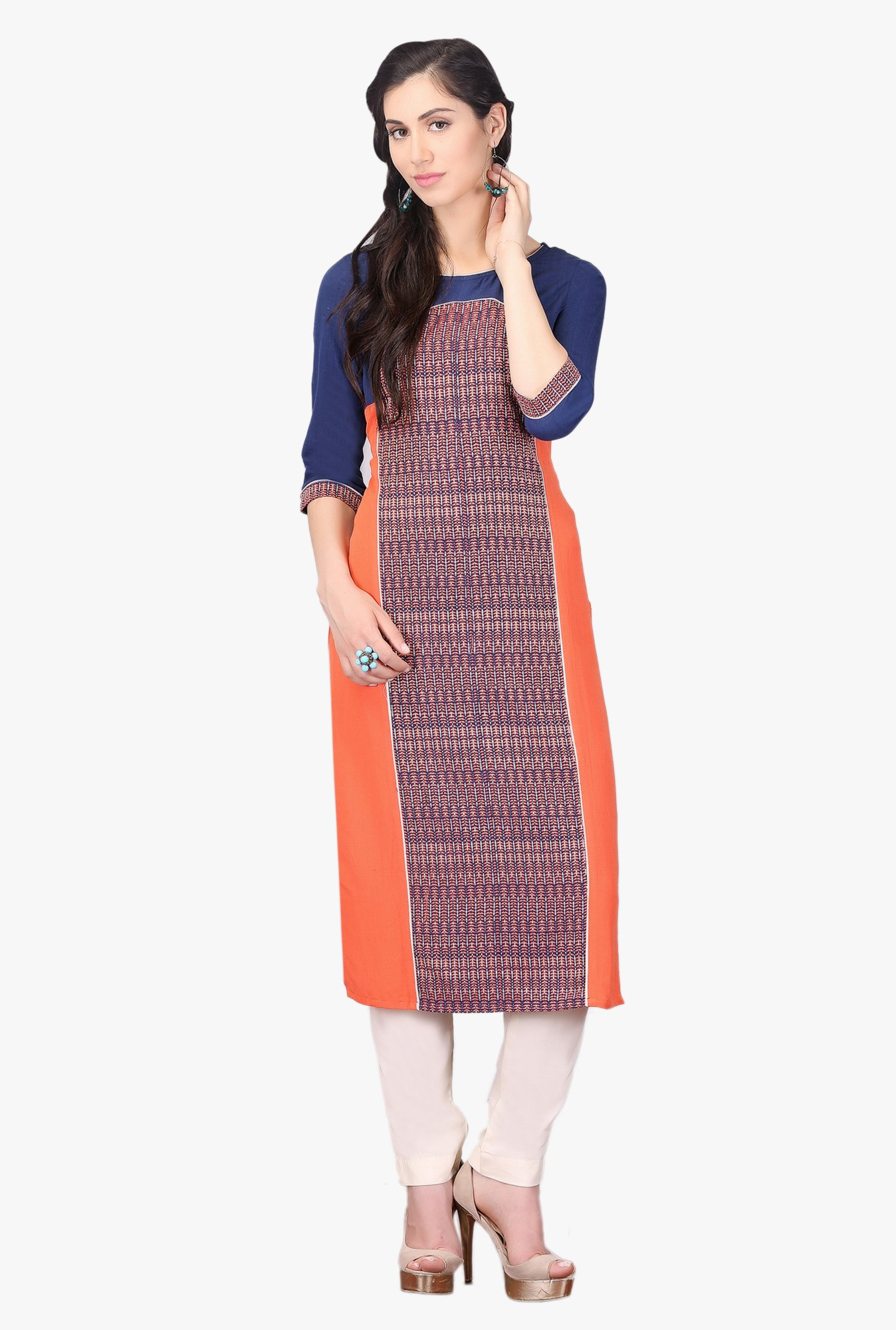 Aurelia Navy & Peach Embroidered Cotton Kurta