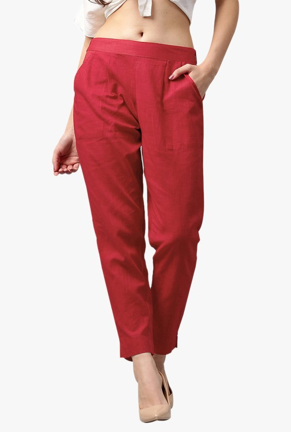 Jaipur Kurti Red Regular Fit Textured Pleated Pants