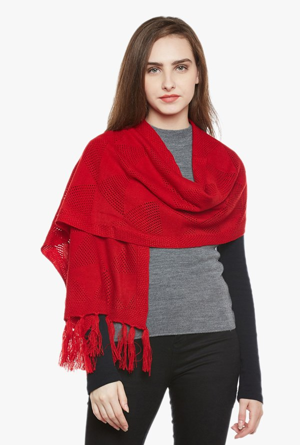 Cayman Red Acrylic Wool Stole