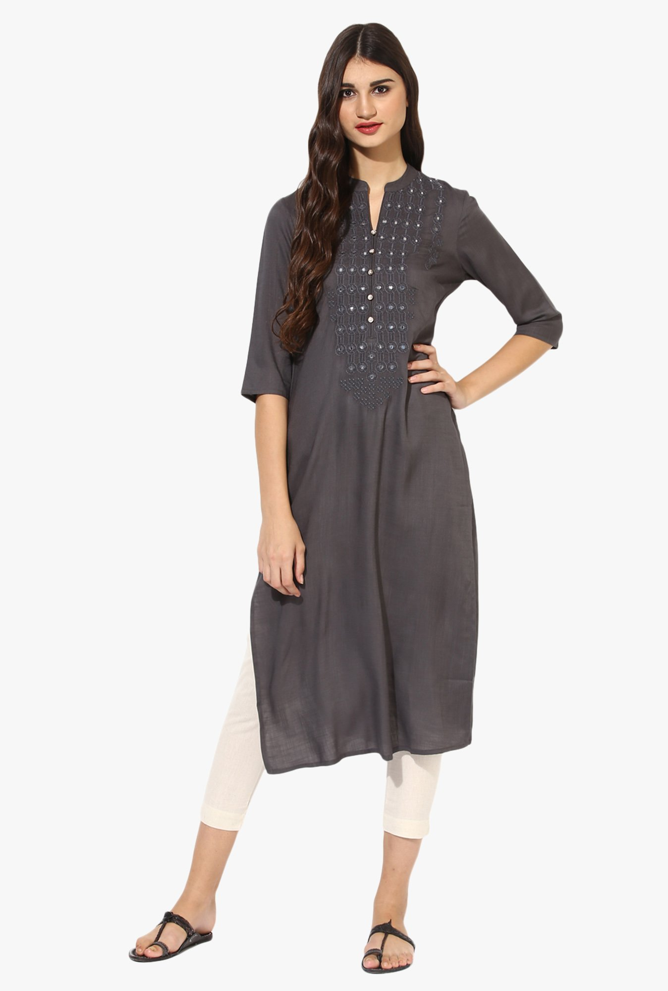 Juniper Grey Embellished Rayon Kurta