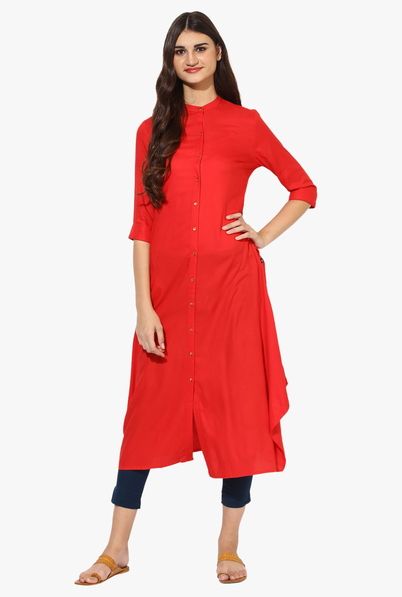 Juniper Red Regular Fit Rayon A-Line Kurta