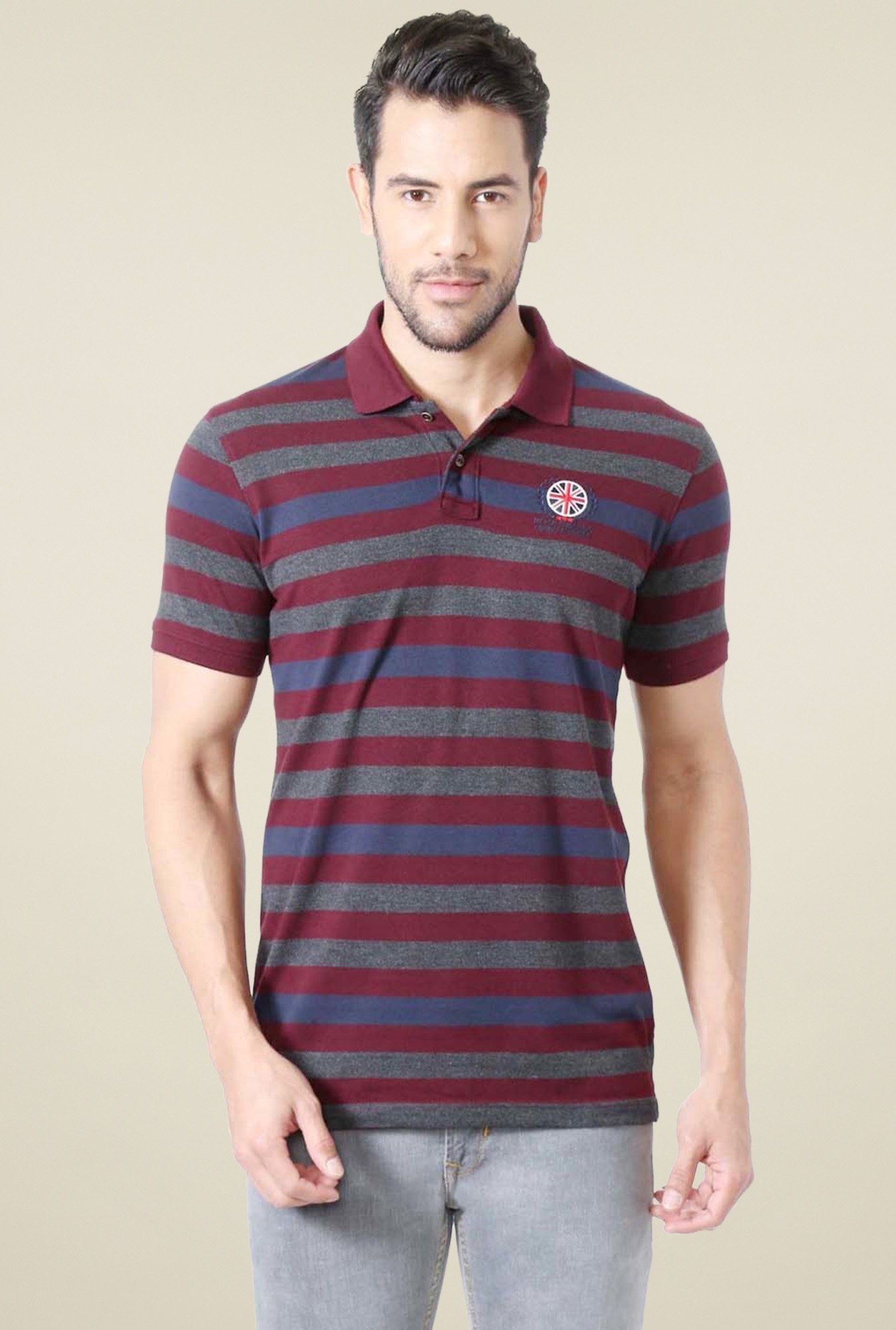 c78208a3c50 Buy Peter England Maroon   Grey Striped Polo T-Shirt for Men Online   Tata  CLiQ