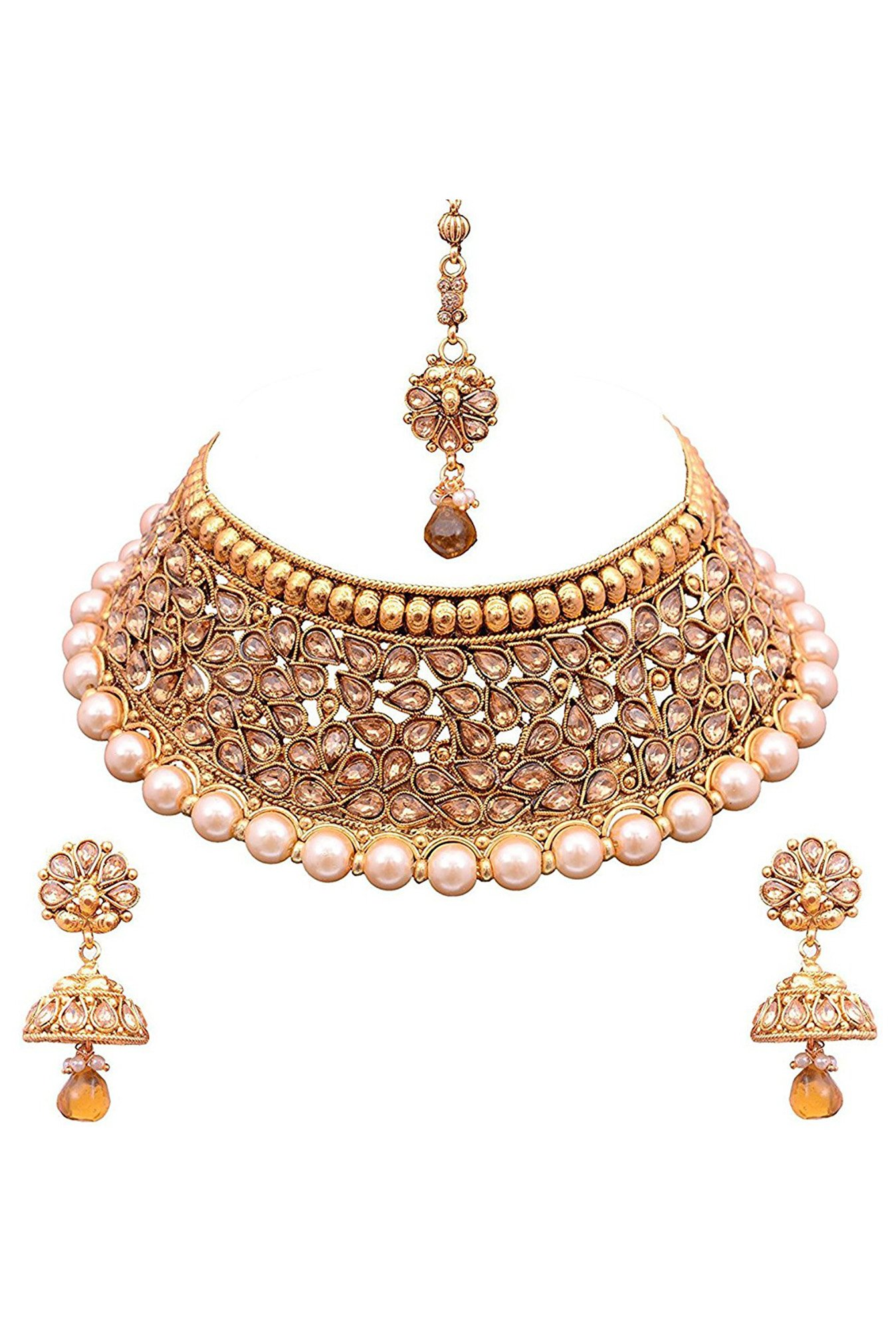 a antique look exclusive gold set necklace designer
