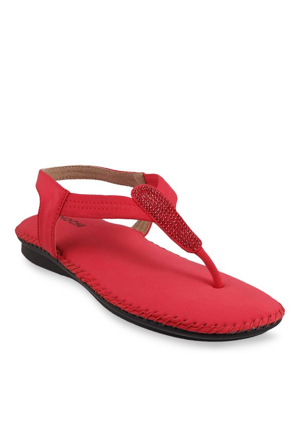 Mochi Red T-Strap Sandals