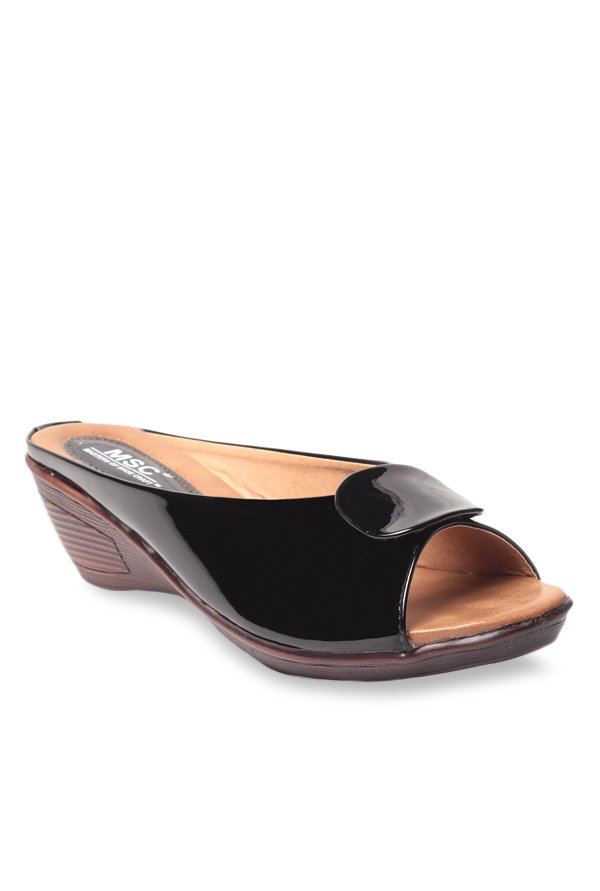 MSC Black Wedge Heeled Sandals