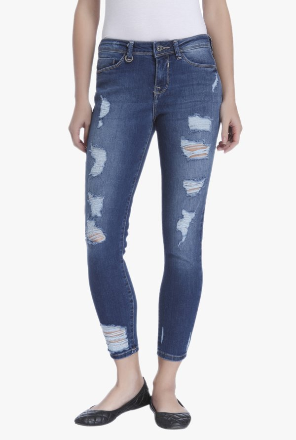 Only Blue Slim Fit Ripped Jeans