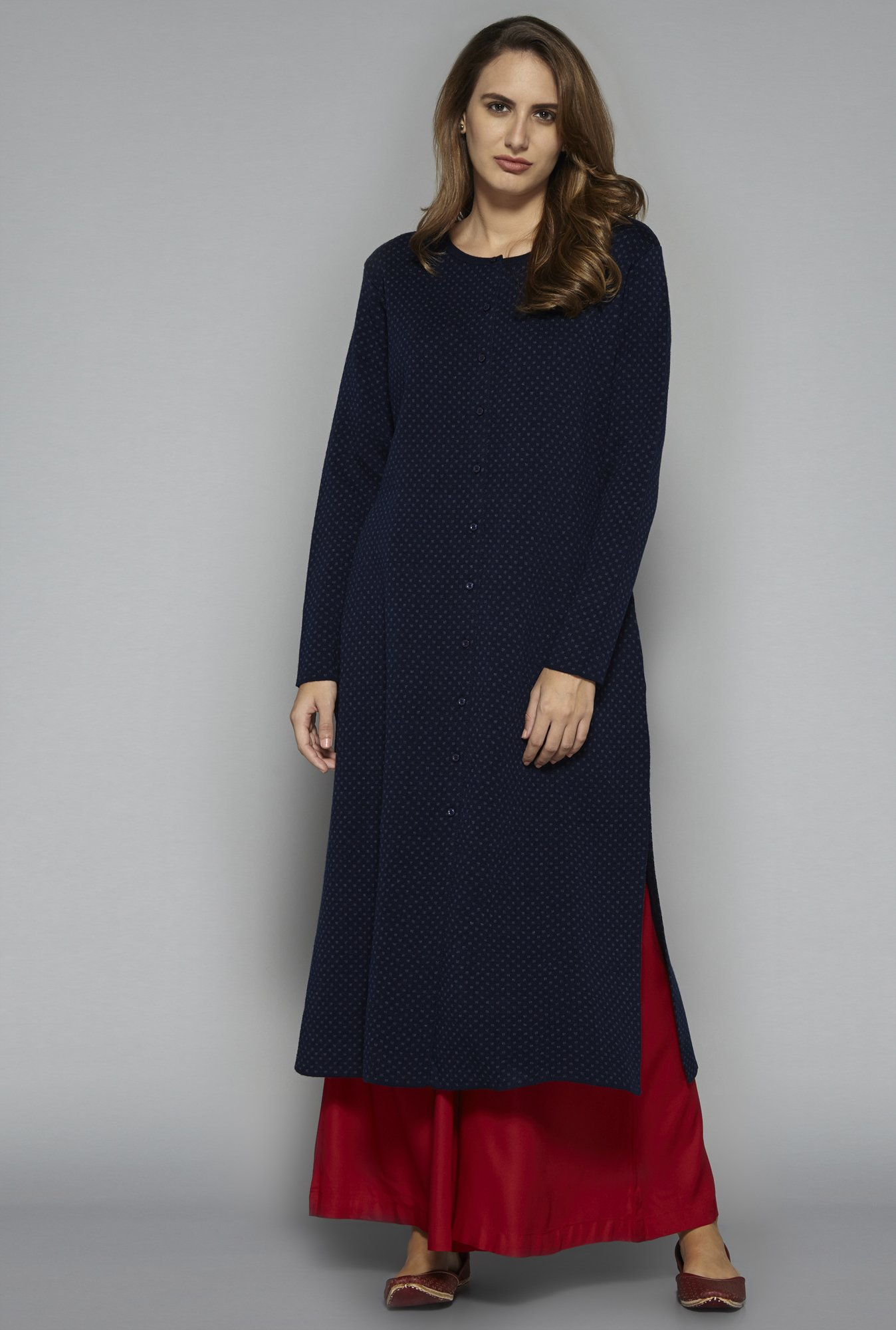 Utsa by Westside Indigo Knit Kurta