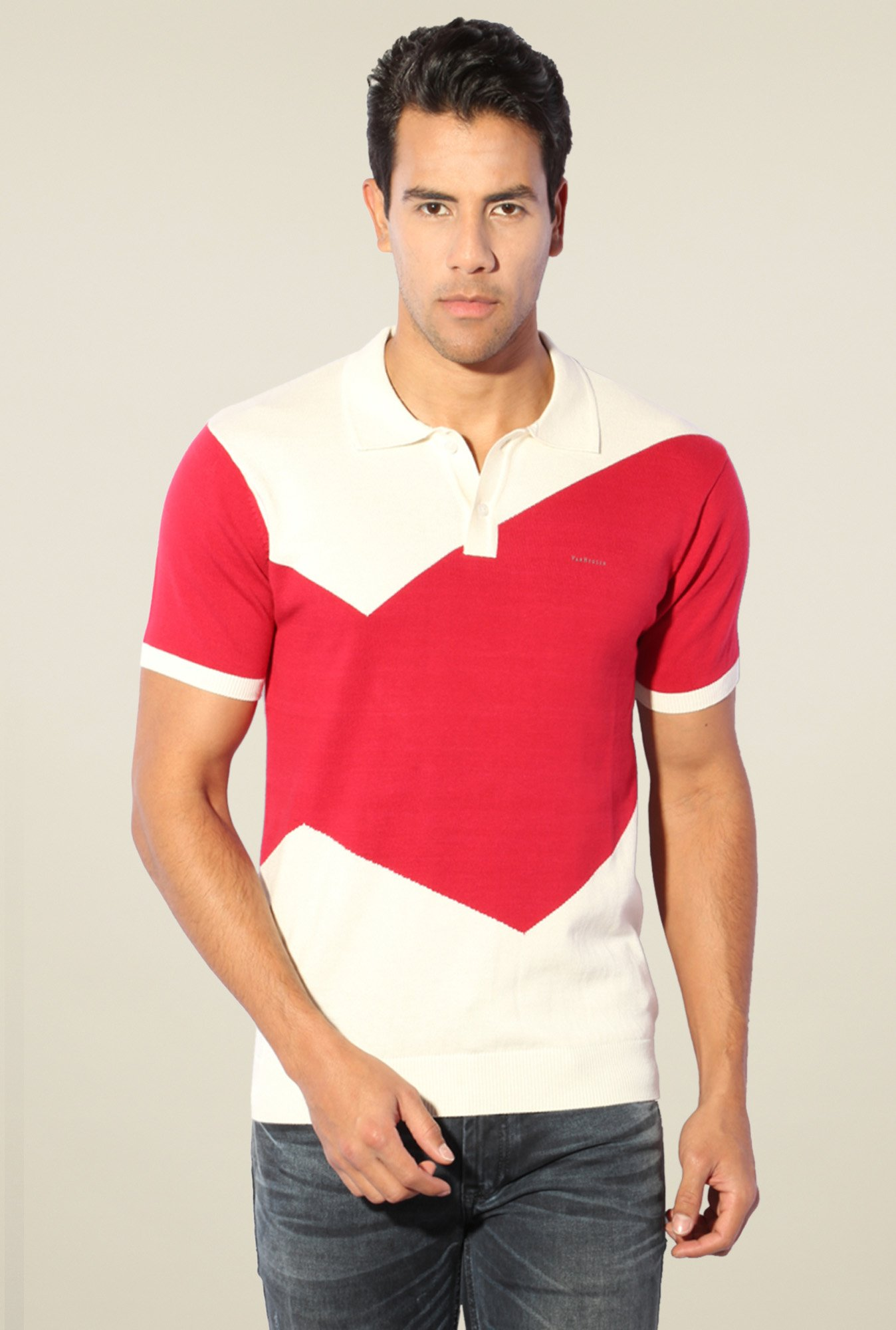 Van Heusen Pink & White Cotton Polo T-Shirt