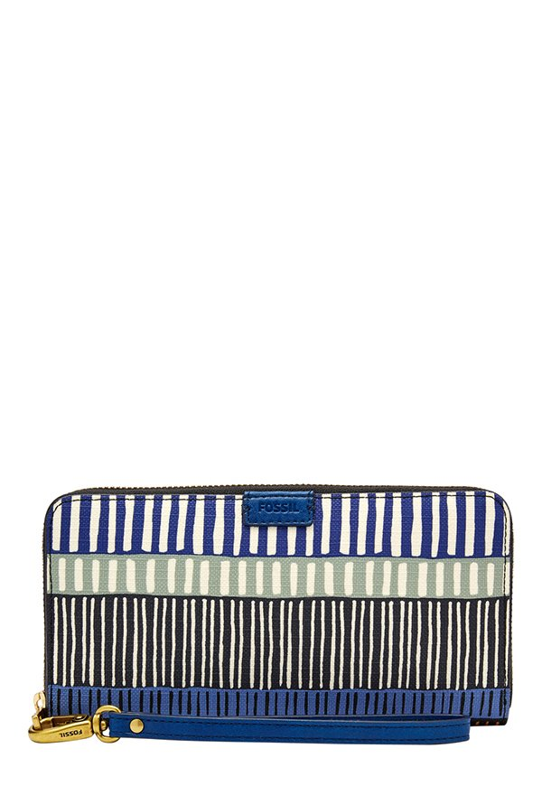 Fossil Navy & Black Striped Leather RFID Wallet