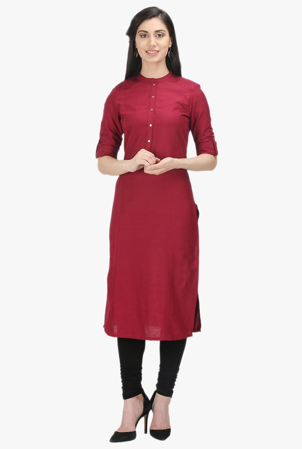 W Maroon Cotton Kurta