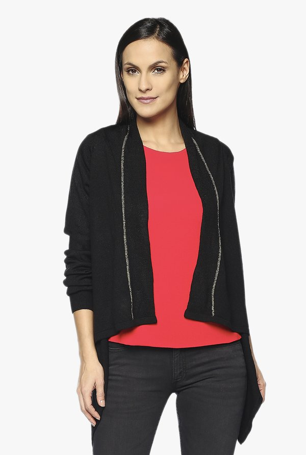 AND Black Textured Cardigan