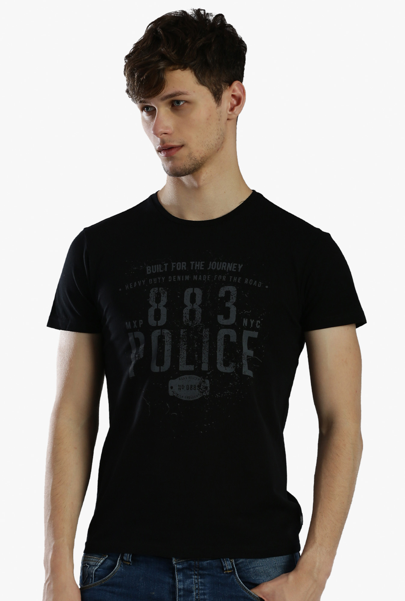 60fd8384353e8e Buy 883 Police Black Half Sleeves Cotton Printed T-Shirt for Men ...