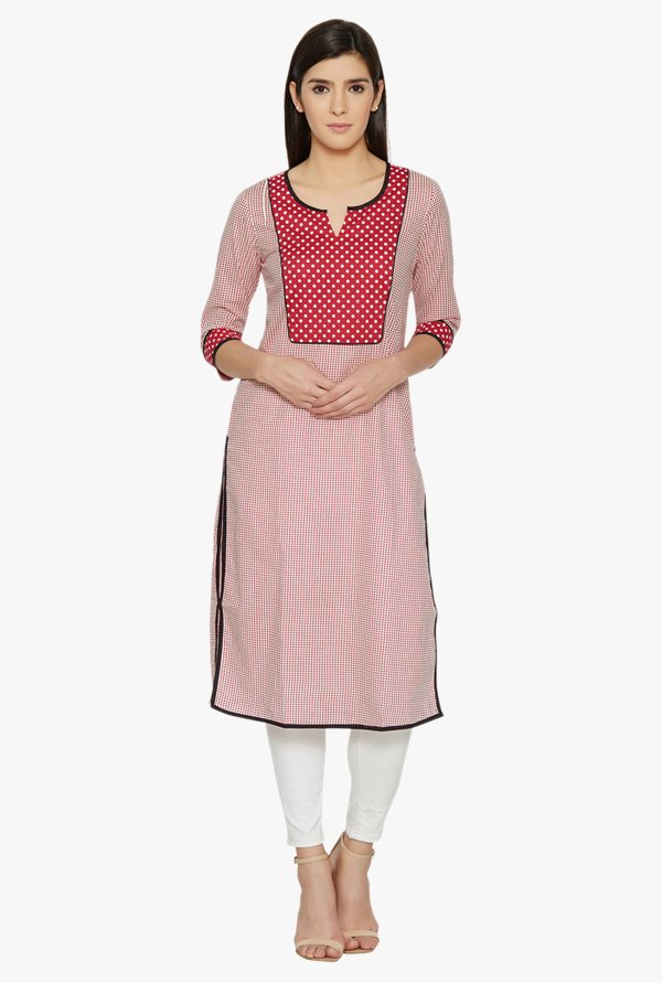 Globus Red Printed Cotton Kurta