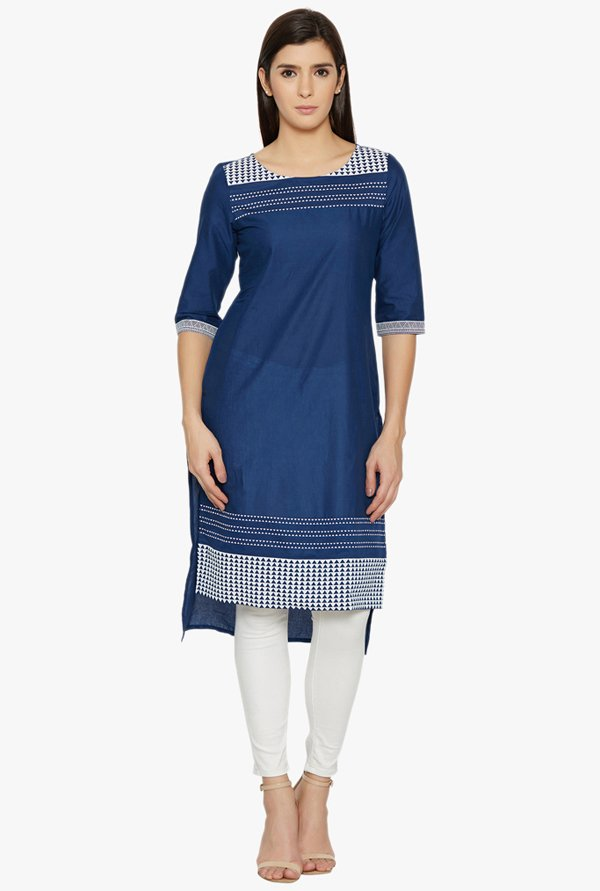 Globus Navy Printed Cotton Kurta
