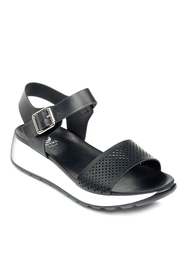 Pavers England Black Ankle Strap Wedges