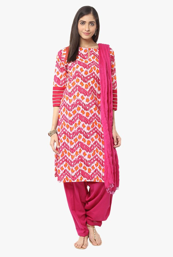 Jaipur Kurti Pink Printed Cotton Patiala Set