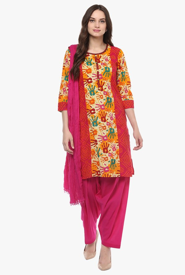 Jaipur Kurti Multicolor & Pink Printed Cotton Patiala Set