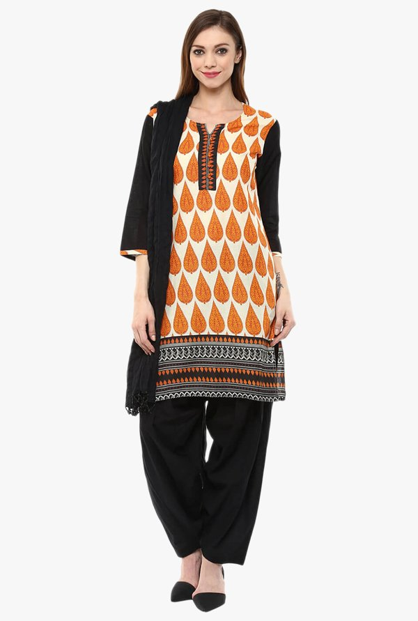 Jaipur Kurti Beige & Black Printed Cotton Patiala Set