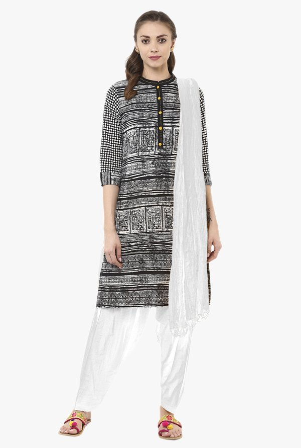 Jaipur Kurti Black & White Printed Cotton Patiala Set
