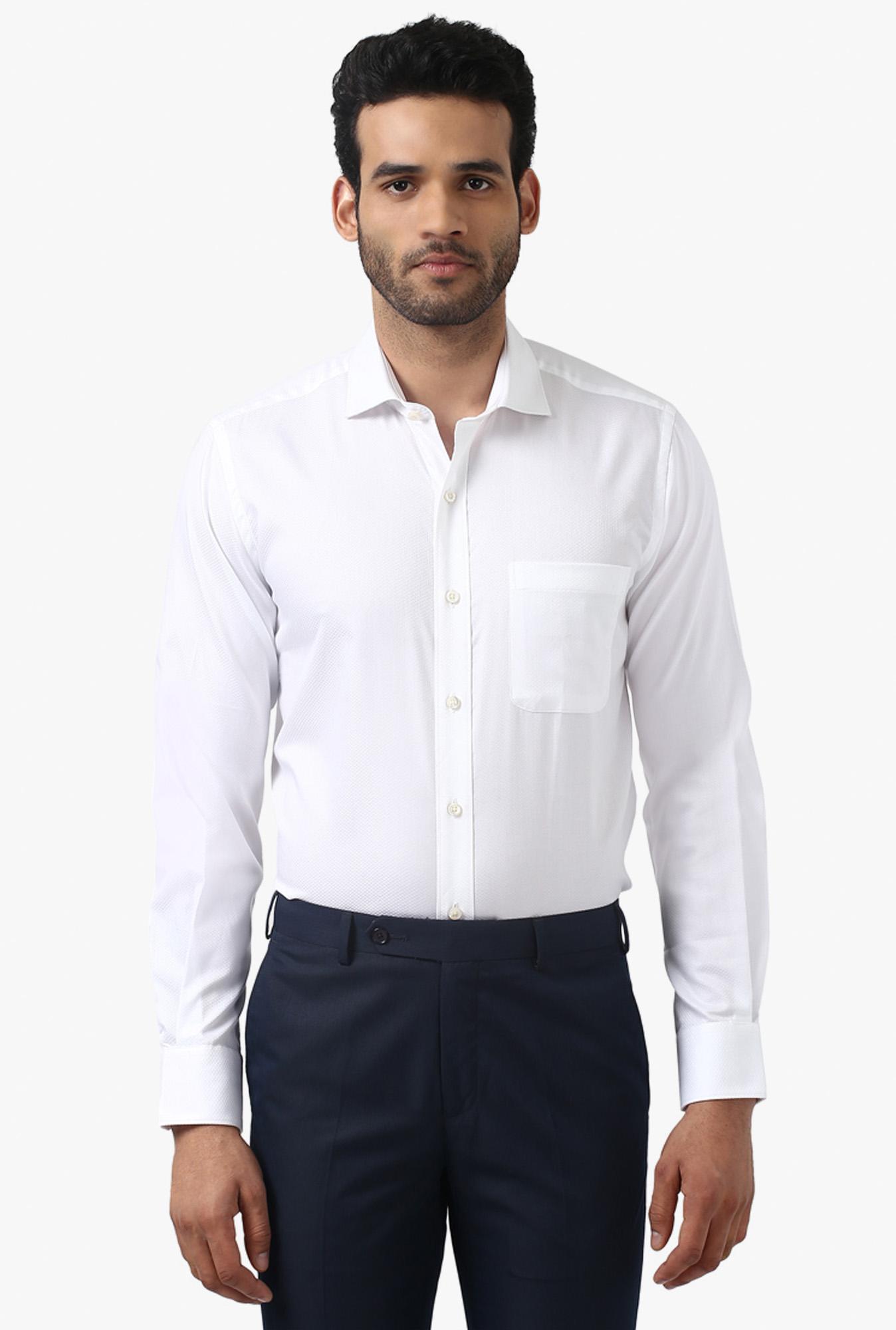 Buy Raymond White Slim Fit Cutaway Collar Shirt For Men Online