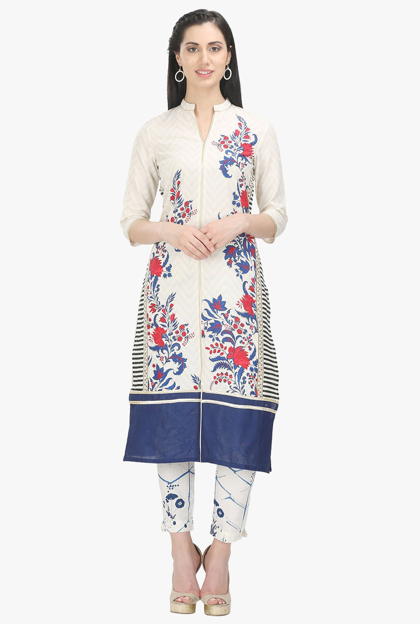 W Off White Floral Print Cotton Straight Kurta