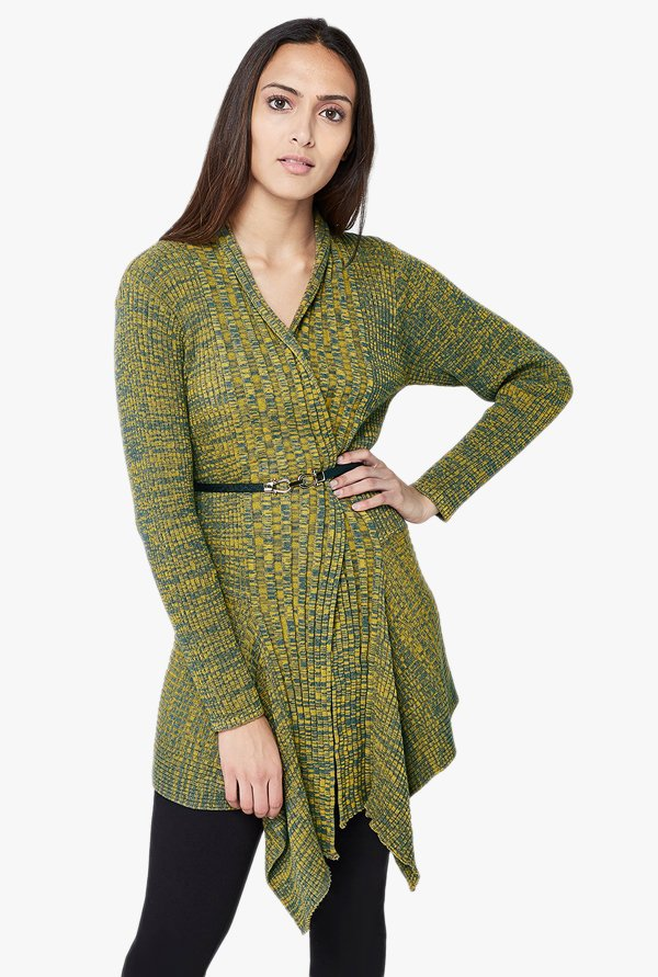 AND Mustard Printed Shrug