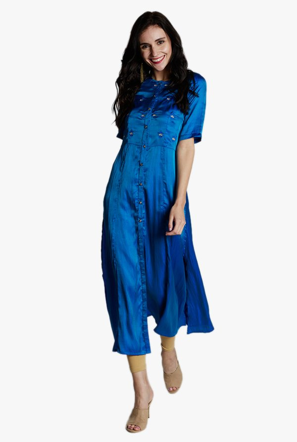 Jaipur Kurti Royal Blue Embroidered Kurta