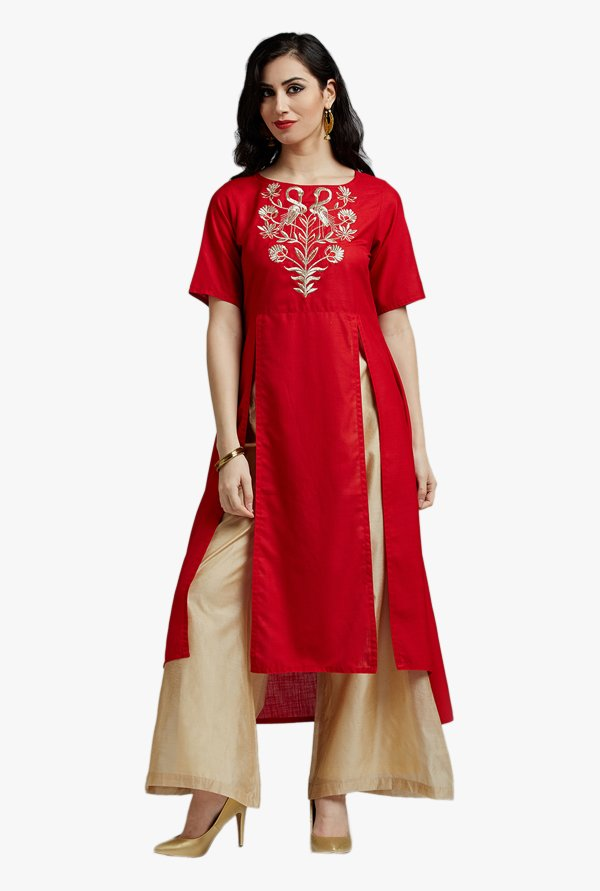 Jaipur Kurti Red Embroidered Kurta