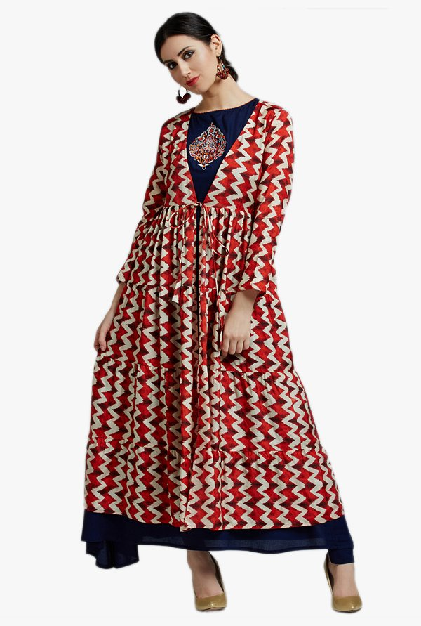 Jaipur Kurti Red & Blue Embroidered Shrug & Inner