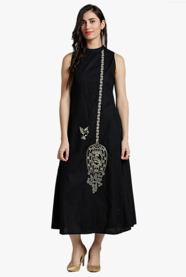 Jaipur Kurti Black Embroidered Midi Dress