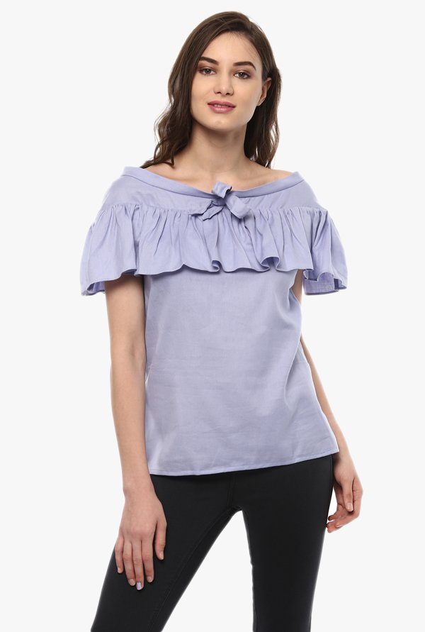 Pannkh Blue Cotton Chambray Top