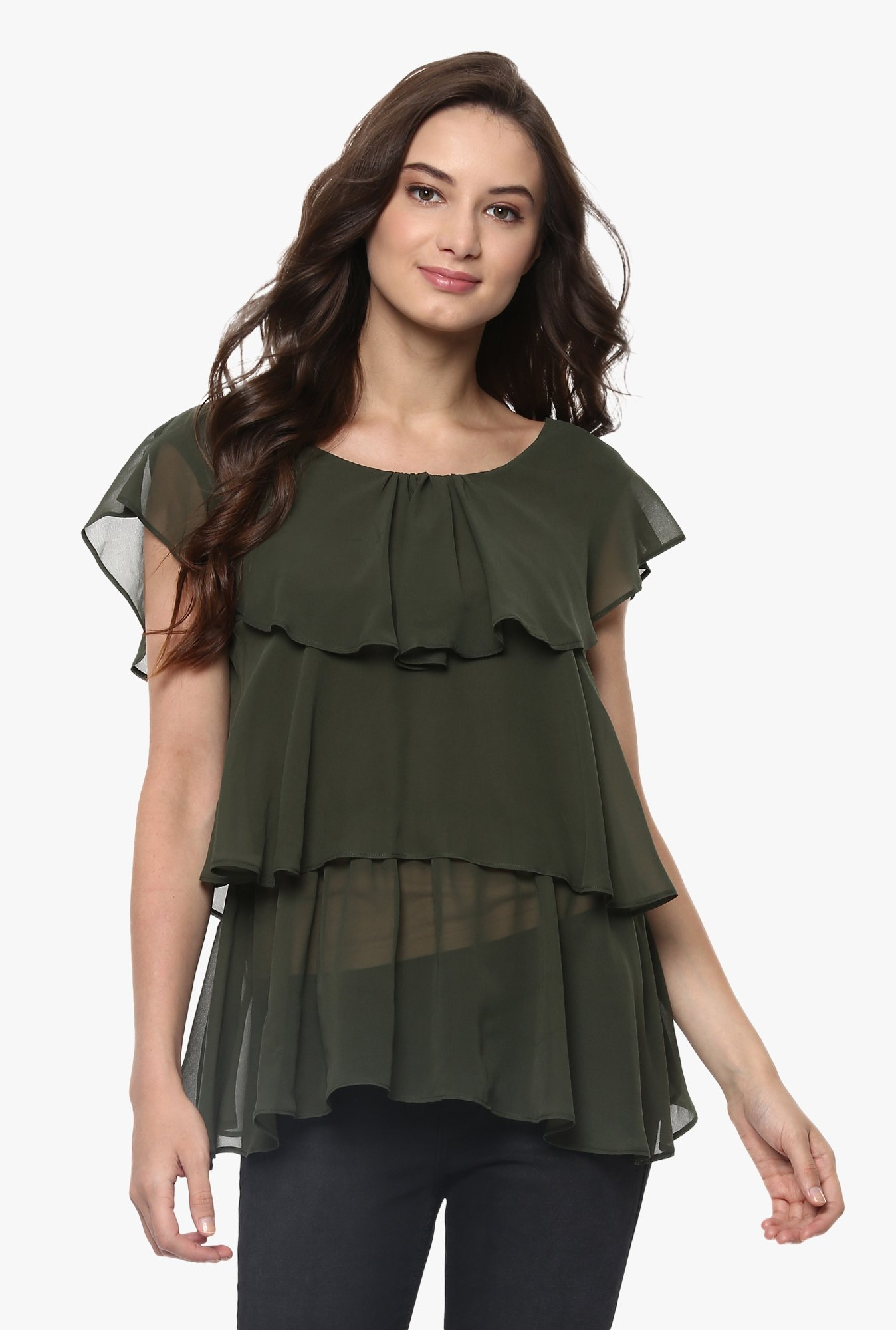 Pannkh Green Polyester Top