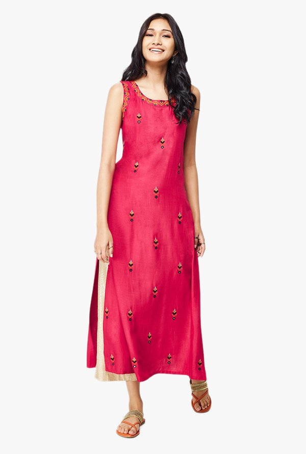 Global Desi Pink Embroidered Viscose Kurta With Mirror Work