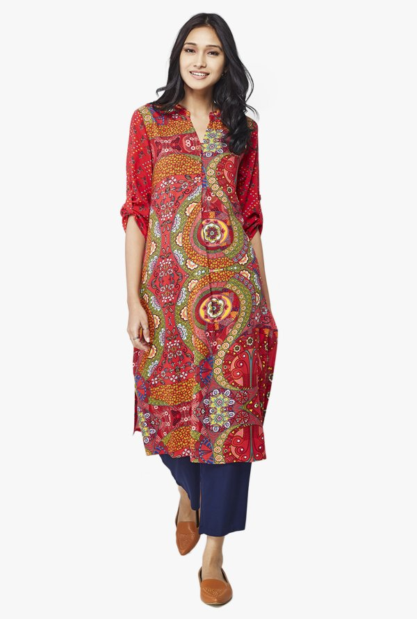 Global Desi Red Printed Viscose Kurta