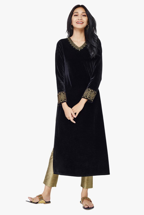 Global Desi Black & Gold Polyester Suit Set