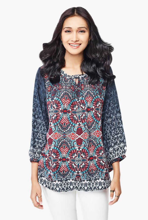 Global Desi Black Printed Top