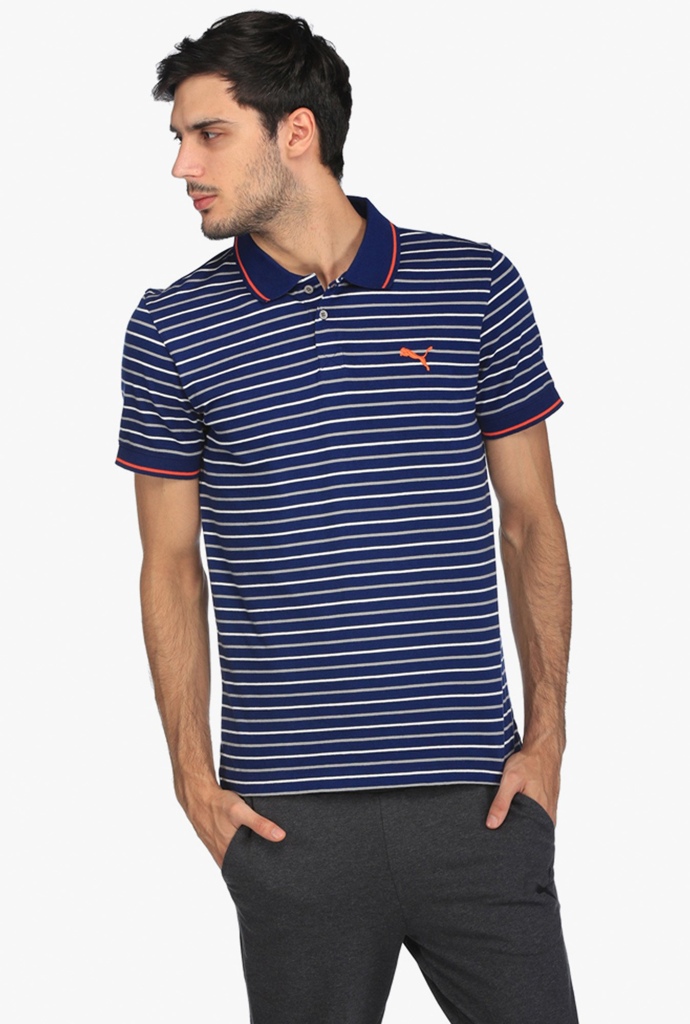 4208be81 Buy Puma Navy Slim Fit Striped Polo T-Shirt for Men Online @ Tata ...