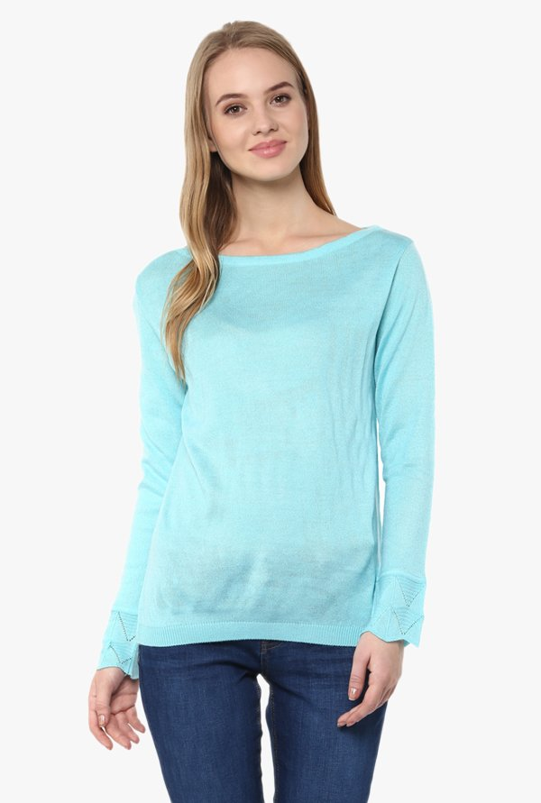 Cayman Turquoise Boat Neck Sweater
