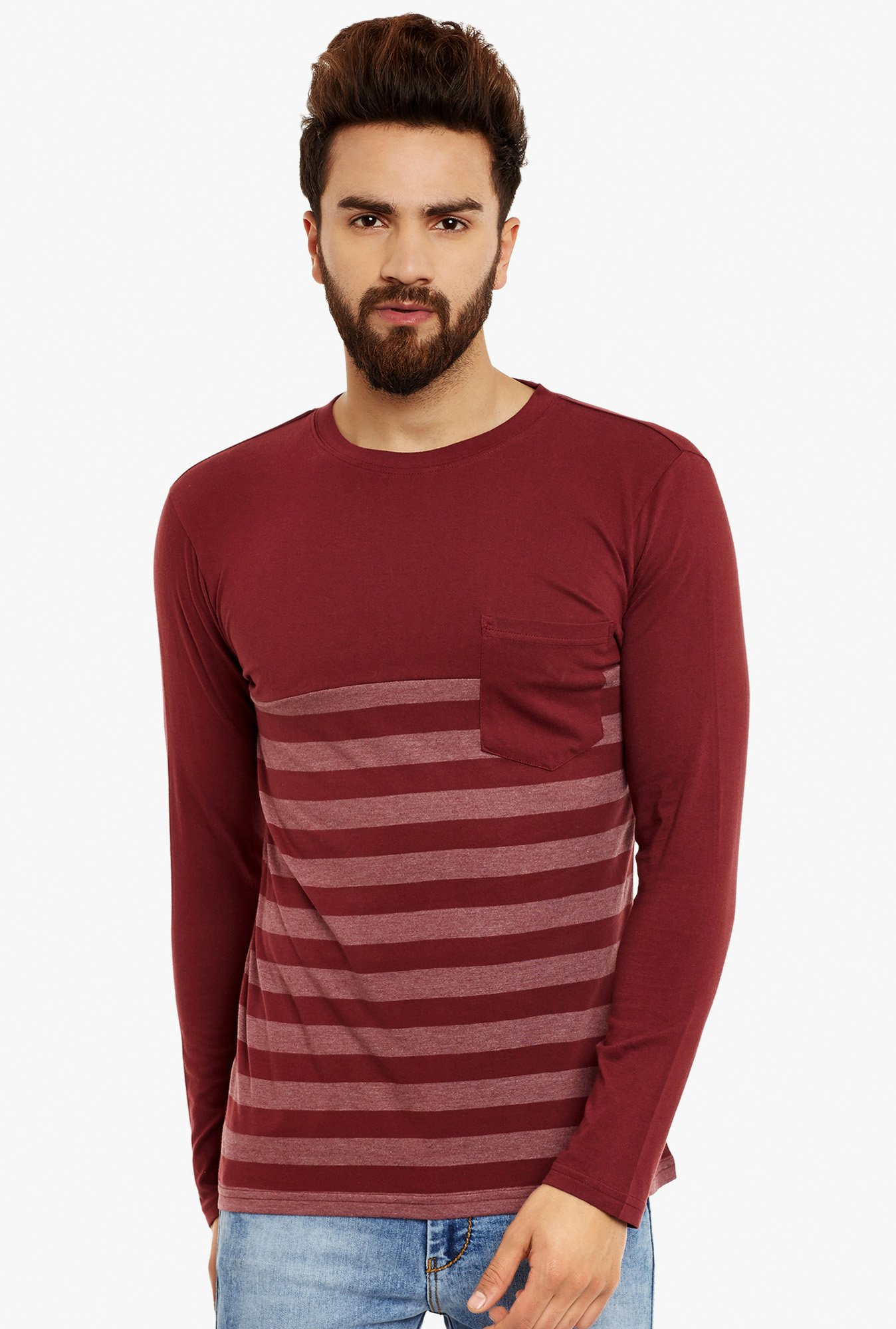 Hypernation Maroon Full Sleeves T-Shirt