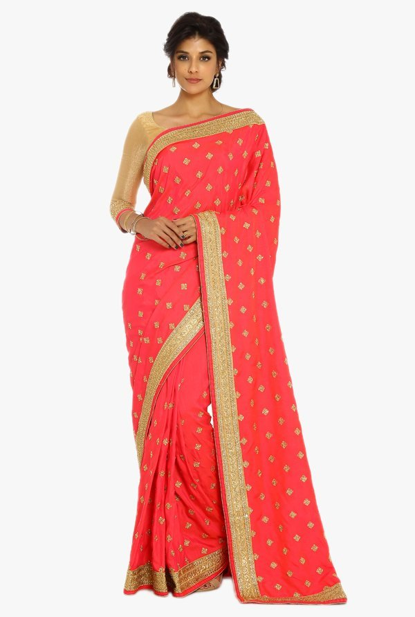 Soch Coral & Gold Embroidered Silk Saree With Blouse