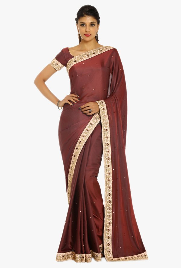 Soch Brown Embellished Silk Saree With Blouse