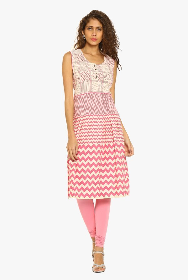 Soch Cream & Pink Printed Cotton Kurta