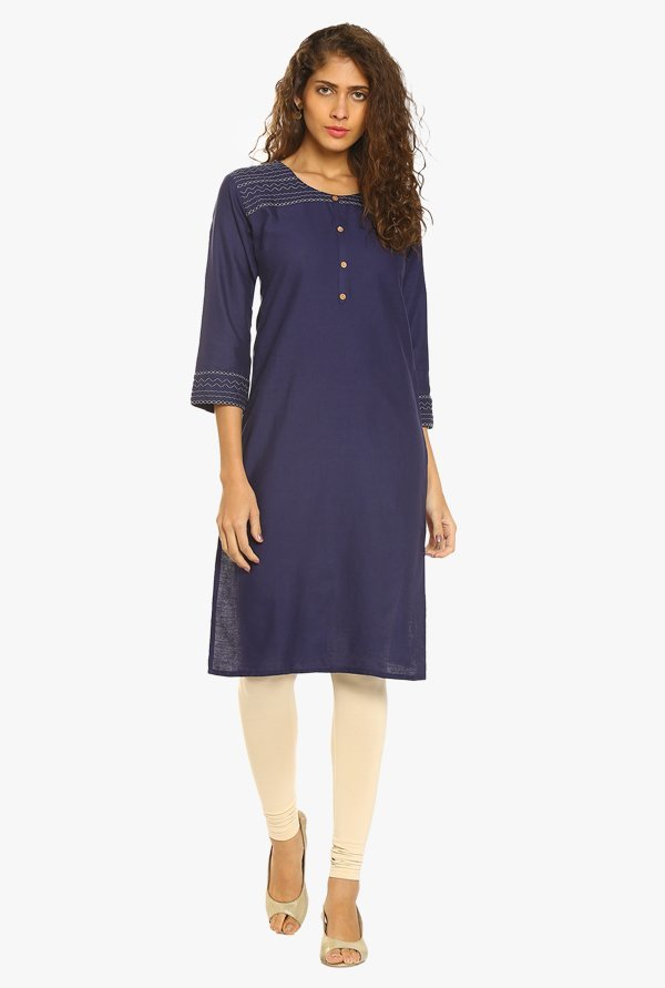 Soch Navy Cotton Kurta
